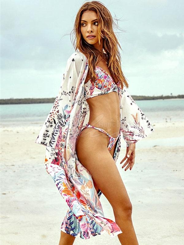 Colorful Floral Printed Beach Bikini Cover-Ups