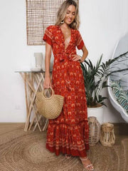 Bow-embellished Printed V-neck Maxi Dresses