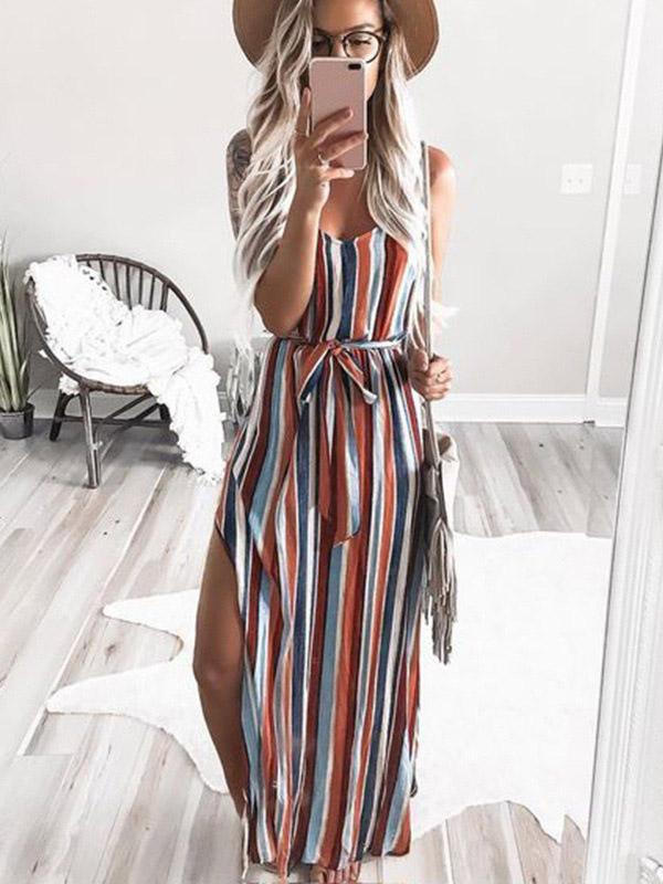 Casual Colorful Striped Maxi Dresses
