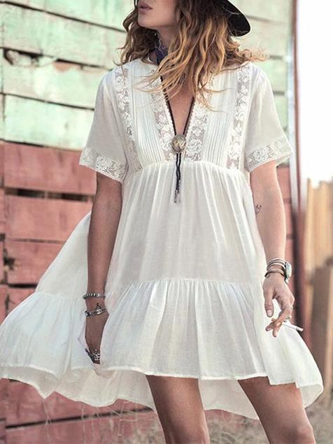 Deep V-neck Ruffled See-through Cover-up Swimwear