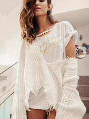 Fashion V-neck Backless Knitting Sweater Tops