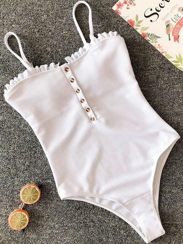 Backless Plain One-piece Swimmer