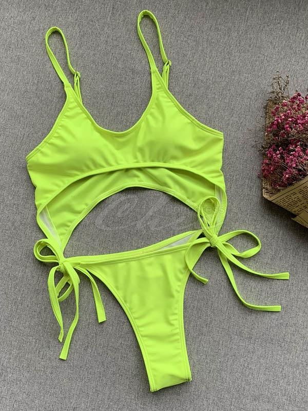 Solid Color Strapless One-Piece Swimsuit