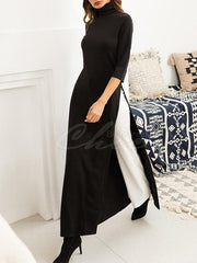 Elasticity Knitting Split-side Maxi Dress
