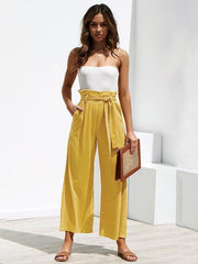 Bandage Solid Loose Wide-leg Pants