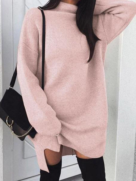 Loose Knit Turtleneck Dress