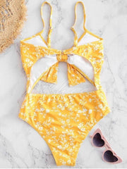 Floral-Print Knotted Hollow One-Piece Swimwear