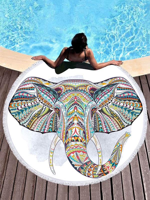 Elephant Head Printed Lucky Beach Mats