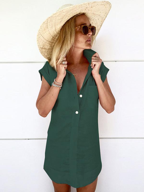 Solid Color Short Sleeve Mini Dress