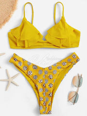 Falbala Polka Dot Split Bikini Swimsuit
