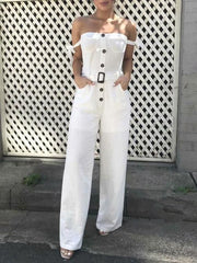 Casual Fashion Straight Leg Spaghetti-neck Jumpsuits