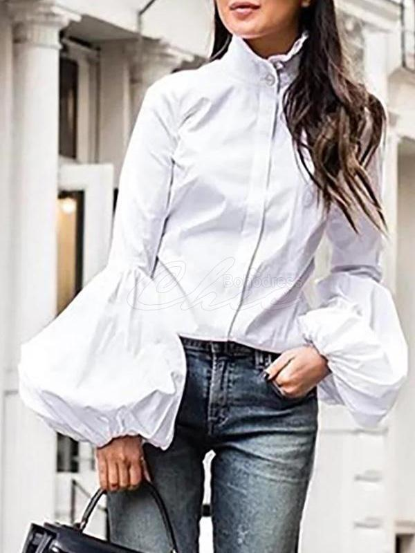 Solid Lantern Sleeve Blouses