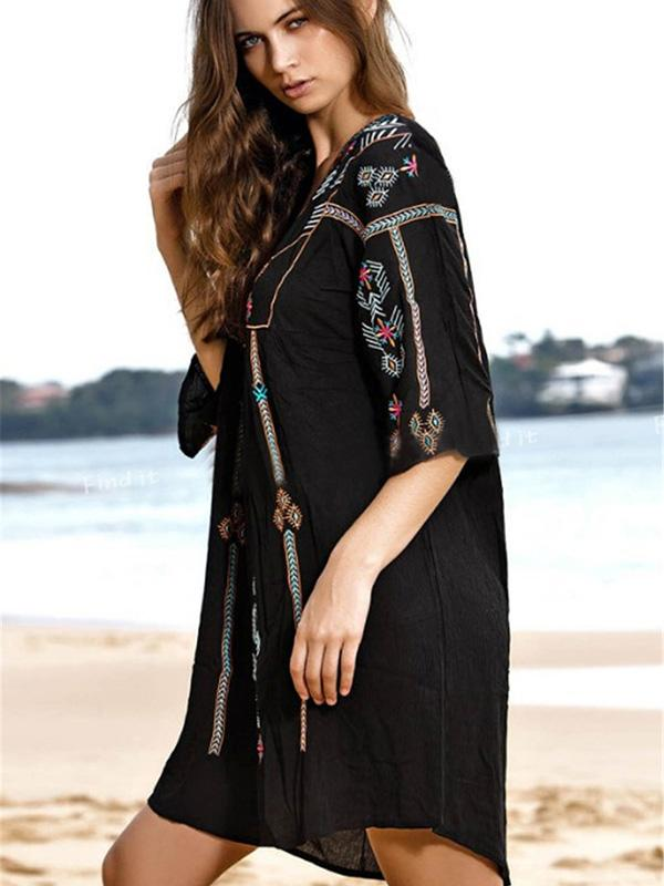 Black Floral V-neck Mini Cover-up