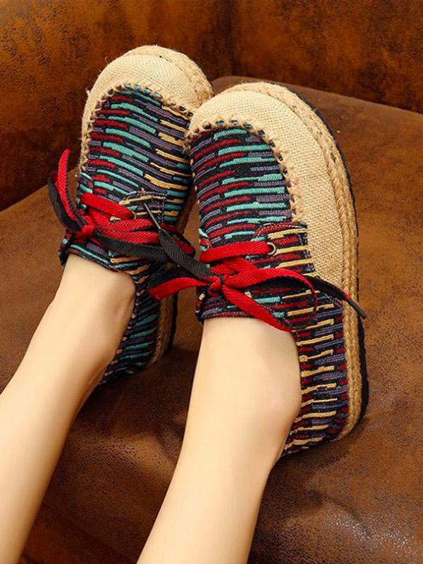 Canvas Lace-up Flat Shoes