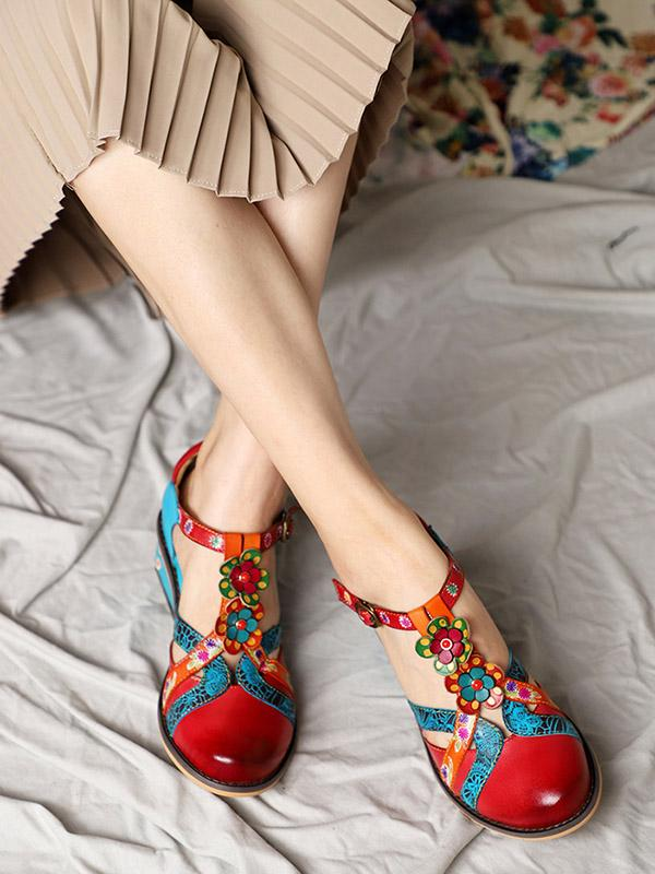 Cow Leather Rounded Head Chunky Heel Sandals