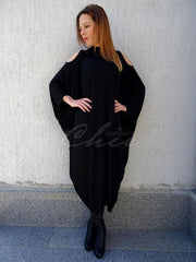 Black Batwing Sleeves Cold Shoulder Long Dress