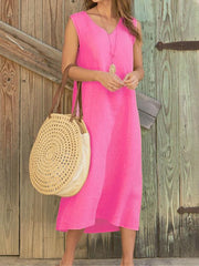 Casual Solid V-neck Sleeveless Maxi Dresses