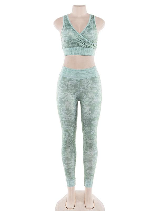 Criss Cross Printed Tanks And Leggings Yoga Suits