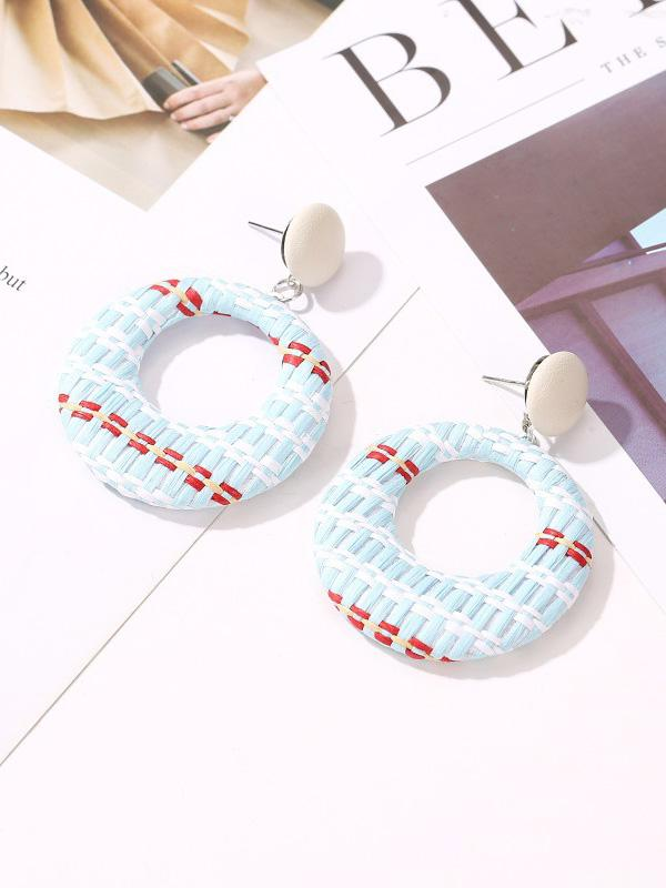 Contrast Hollow Woven Circle Earrings Accessories