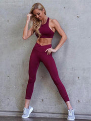 Solid Padded Yoga Gym Bra And Legging Suits