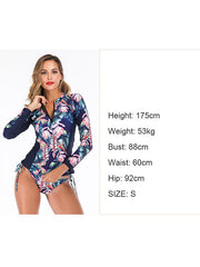 Floral Printing Strappy Waist Two Pieces Wetsuit