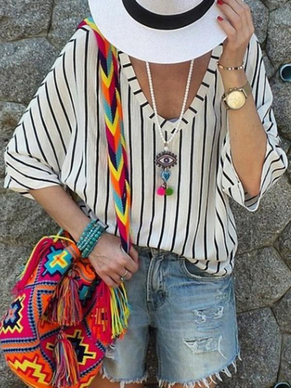 Casual V-neck Loose Striped T-shirt