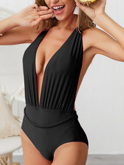 Backless V-neck One-piece Swimsuit