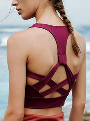 Cross-strap Solid Sports Yoga Tanks