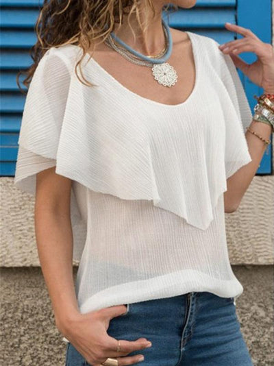 Casual V-neck Backless  Georgette T-shirt