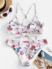 Floral-Print Bandage Backless Split Bikini Swimsuit