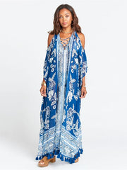 Blue White Printed Loose Plus Size Tasseled Bikini Cover-ups