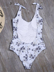 Backless Floral-Print One-Piece Swimwear