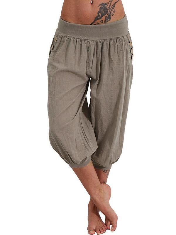 Button Pocket Casual Pants