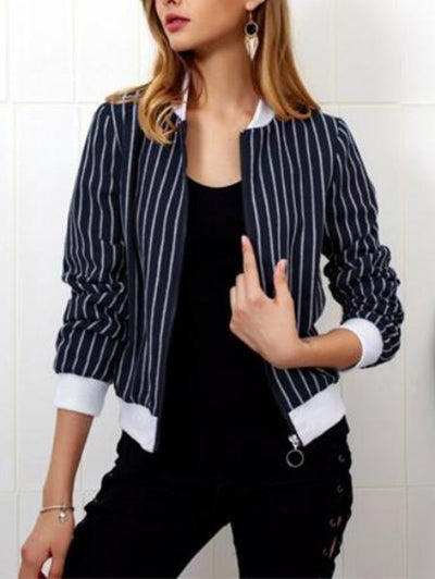 Blue Striped Zipper Jacket