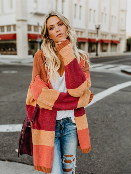 OL Cardigan Commuter Striped Rainbow Coat