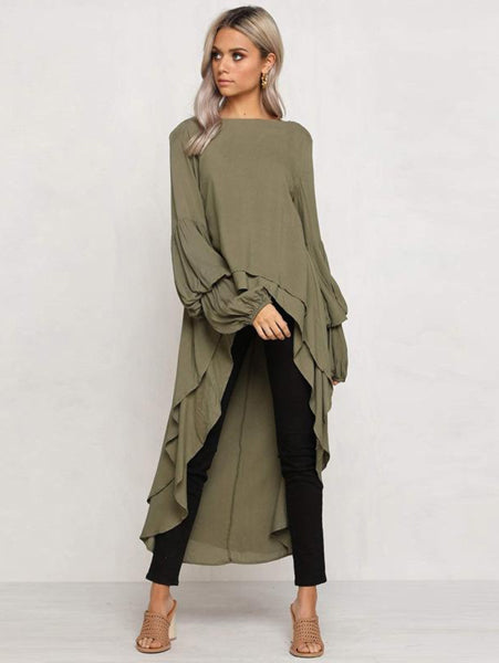 Irregular Ruffled Long Sleeve Sweater