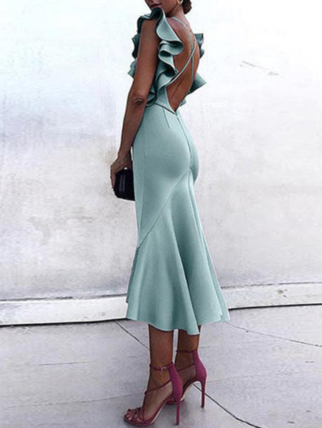 Sexy Backless Fishtail Bodycon Dress