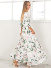 Bohemia V-Neck Floral Split-side Maxi Dress
