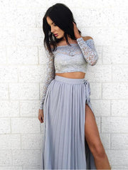 Grey Lace Two-Pieces Chiffon Maxi Dress