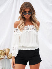 White Lace Long Sleeve Blouses