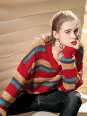 Fashion Loose V Neck Striped Sweater