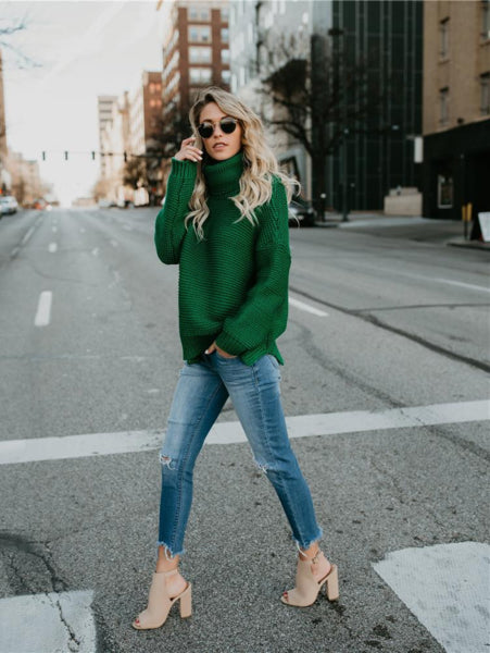 Multi-Color Turtleneck Sweater