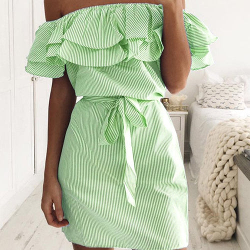 Off the Shoulder Ruffled Stripe Dress