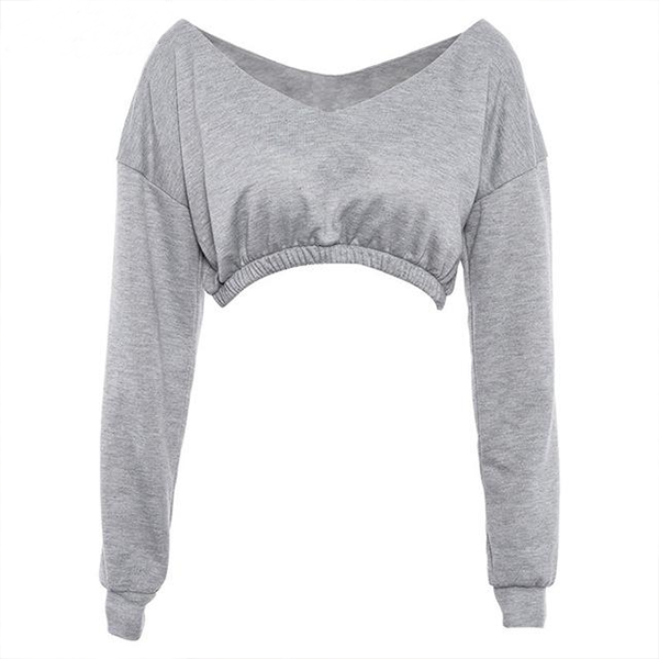 Casual V-Neck Long Sleeve Crop Top