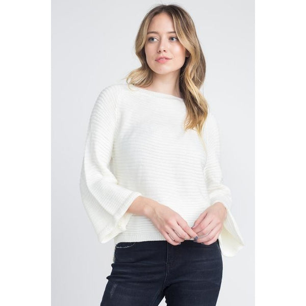 Solid Knit Bell Sleeve Sweater