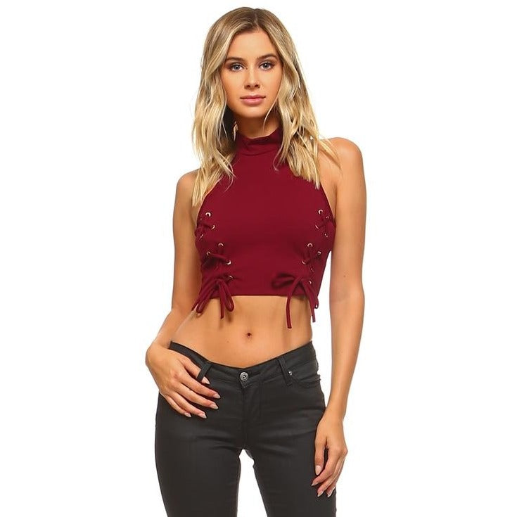 High Neck Tie Crop Top