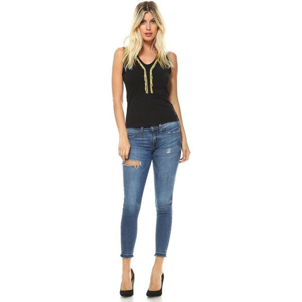 Sleeveless A-Line Top With Chain Details