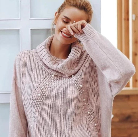 Simplee Beading turtleneck pearl plus size sweater Women 2018 Split casual knitted pullover sweater Autumn long sleeve jumpers