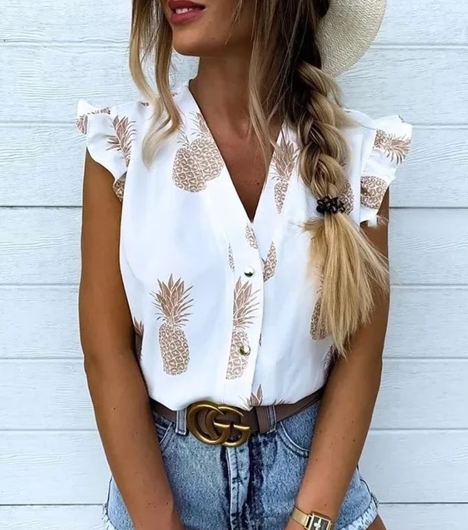 Summer Frill Sleeve Blouse