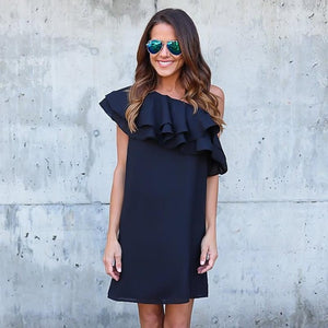 Ruffled off the Shoulder Party Dress